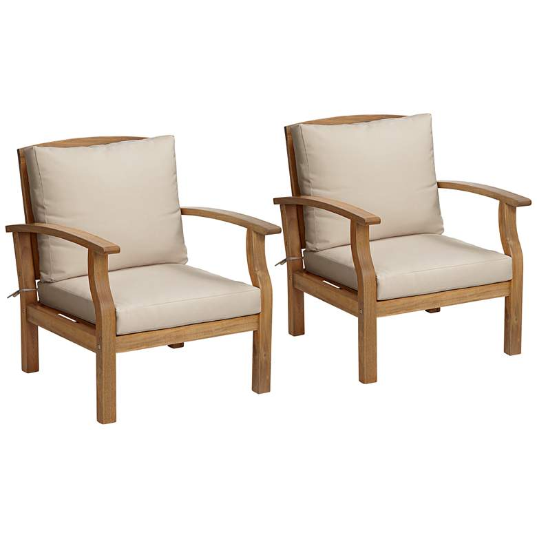 Essex Natural Wood Outdoor Club Chairs Set of 2