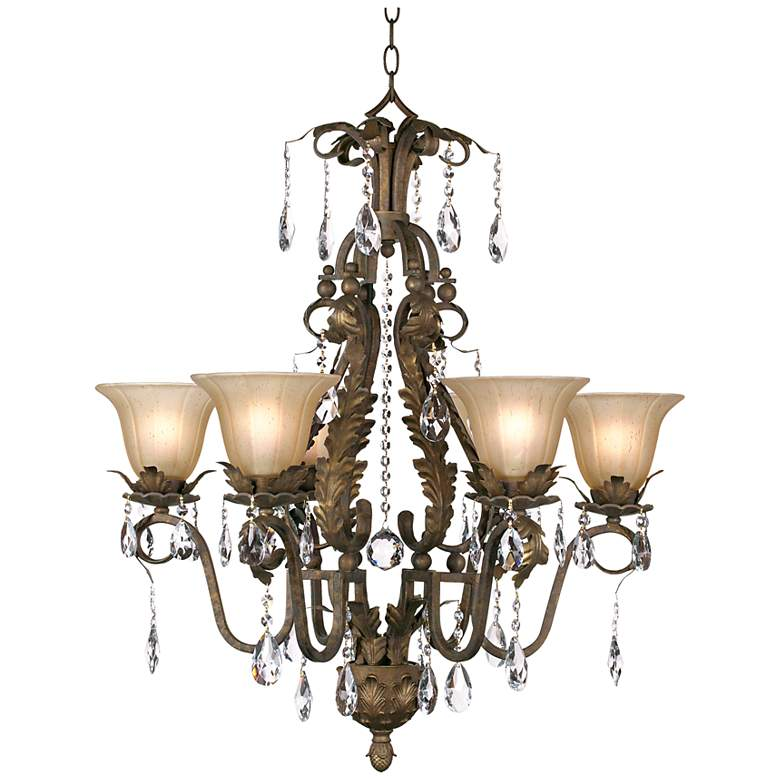 """Iron Leaf 29"""" Wide Roman Bronze and Crystal Chandelier"""