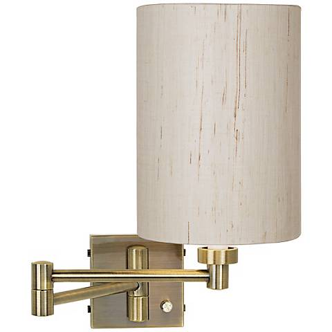 Antique Brass with Ivory Linen Shade Plug-In Swing Arm Wall Lamp