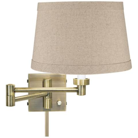 Natural Linen Drum Antique Brass Swing Arm With Cord Cover 37857 2f003 U2363 Lamps Plus