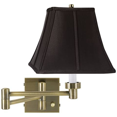 Black Square Shade Antique Brass Plug-In Swing Arm Wall Lamp