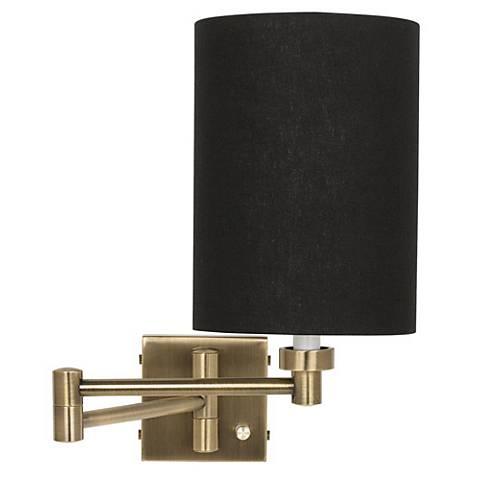 Black Linen Cylinder Shade Antique Brass Plug-In Swing Arm