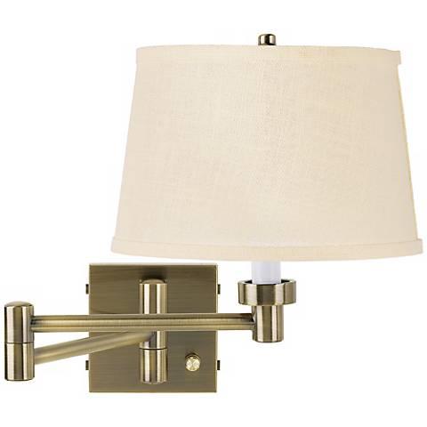 Cream Burlap Shade Antique Brass Plug-In Swing Arm Wall Lamp