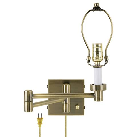 antique brass plug in swing arm wall lamp base 37857 lamps plus. Black Bedroom Furniture Sets. Home Design Ideas