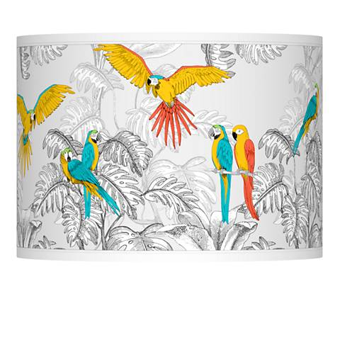 Macaw Jungle Giclee Lamp Shade 13.5x13.5x10 (Spider)