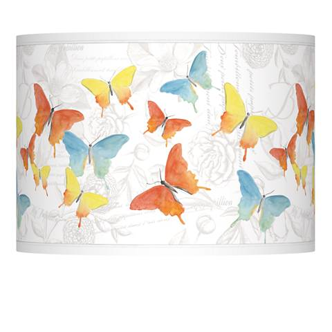 Pastel Butterflies Giclee Lamp Shade 13.5x13.5x10 (Spider)