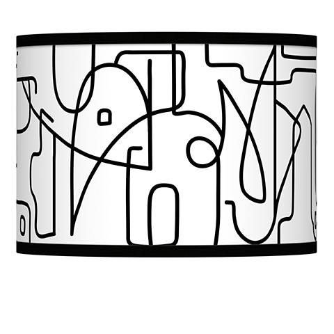 Scribble World Giclee Lamp Shade 13.5x13.5x10 (Spider)