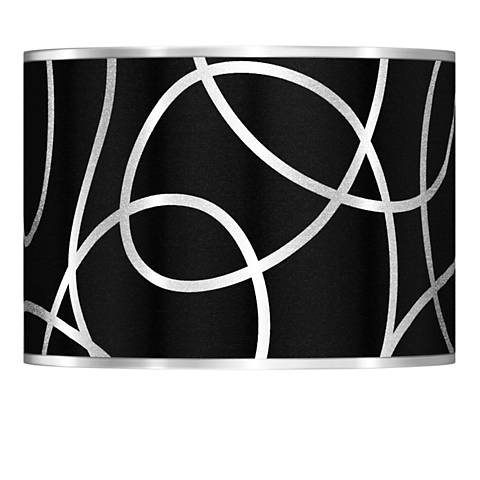 Abstract Silver Metallic Giclee Lamp Shade 13.5x13.5x10 (Spider)