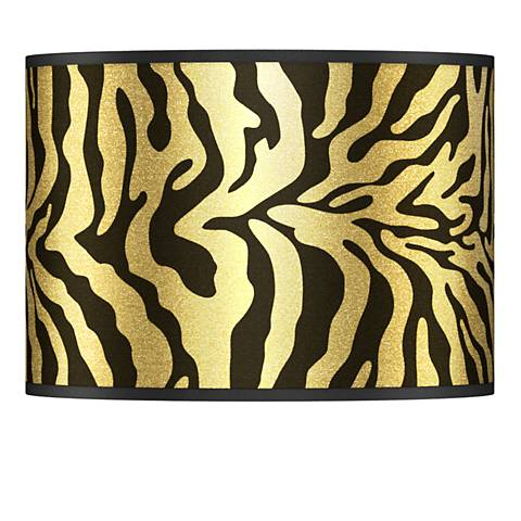 Safari Zebra Gold Metallic Lamp Shade 13.5x13.5x10 (Spider)