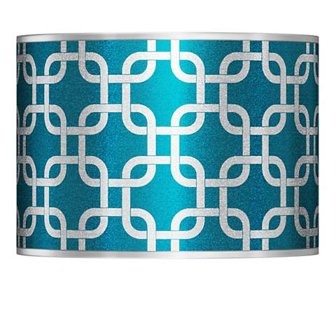 Lattice Silver Metallic I Giclee Lamp Shade 13.5x13.5x10 (Spider)