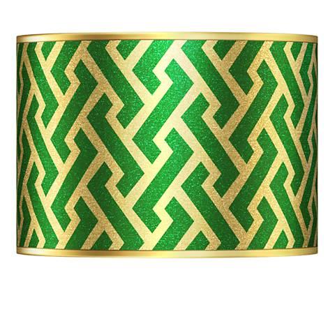 Brick Weave Gold Metallic Giclee Lamp Shade 13.5x13.5x10 (Spider)