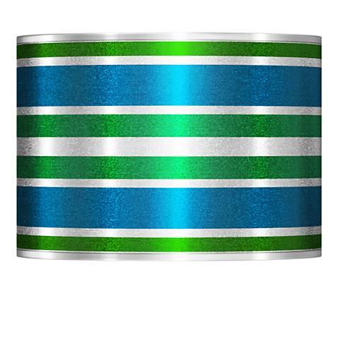 Multi Color Stripes Silver Metallic Shade 13.5x13.5x10 (Spider)