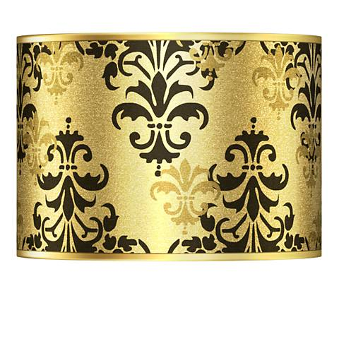 Damask Shadow Gold Metallic Lamp Shade 13.5x13.5x10 (Spider)