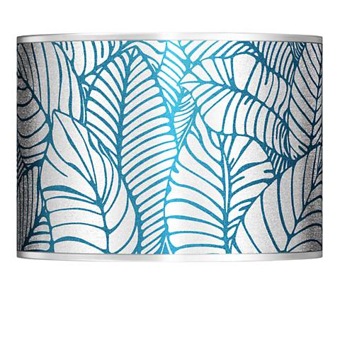 Tropical Leaves Silver Metallic Lamp Shade 13.5x13.5x10 (Spider)