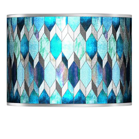 Blue Tiffany-Style Silver Metallic Shade 13.5x13.5x10 (Spider)