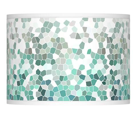 Aqua Mosaic Giclee Lamp Shade 13.5x13.5x10 (Spider)