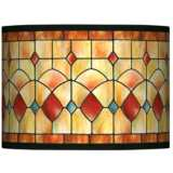 Tiffany-Style Reds Drum Lamp Shade 13.5x13.5x10 (Spider)