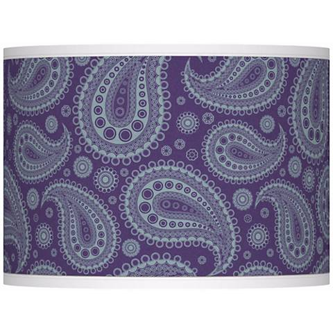 Purple Paisley Linen Giclee Glow Shade 13.5x13.5x10 (Spider)