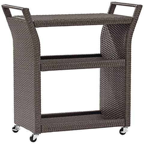 Palm Harbor Gray Outdoor Wicker Bar Cart