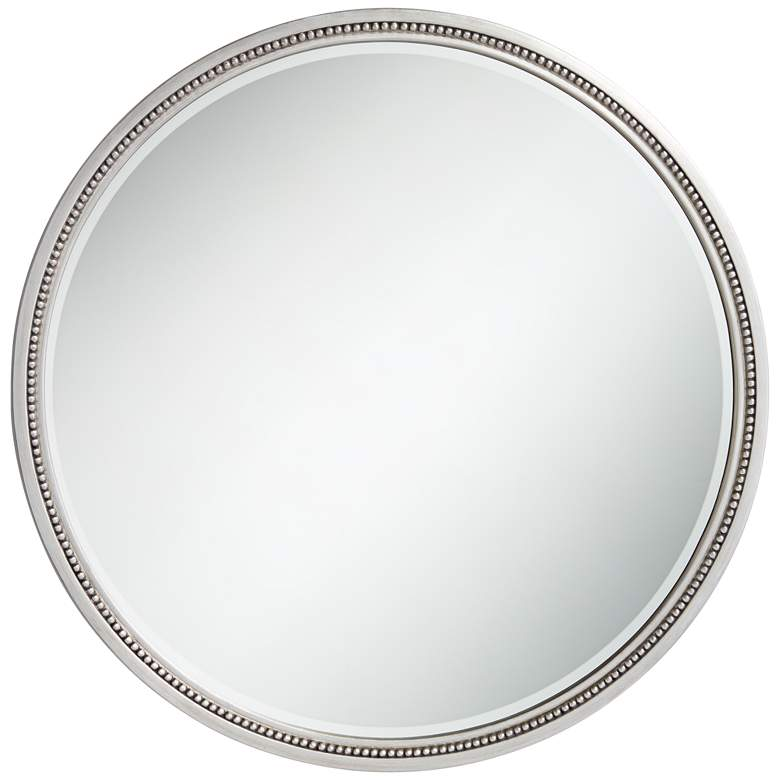 "Lorraine Silver 32 3/4"" Round Beaded Trim Wall Mirror"