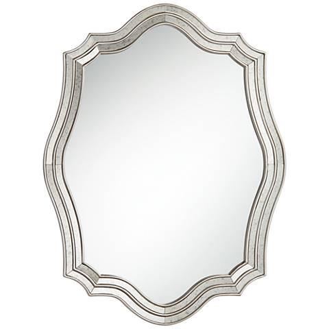 caterina silver 29 x38 layered quatrefoil wall mirror 37a39