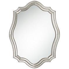 "Caterina Silver 29"" x 38"" Layered Quatrefoil Wall Mirror"