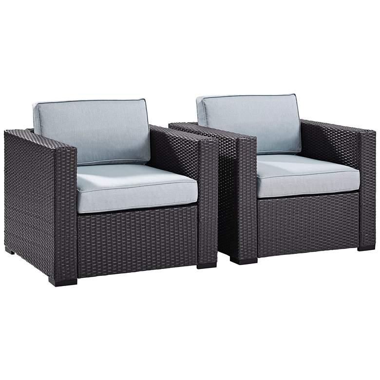 Biscayne Mist Fabric Outdoor Wicker Armchair Set of 2