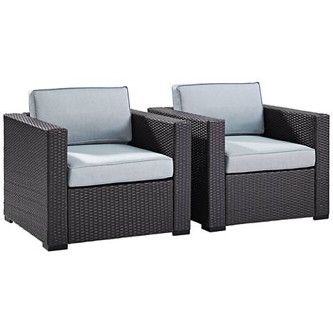 Biscayne Mist Fabric Outdoor Wicker Armchair Set of 2