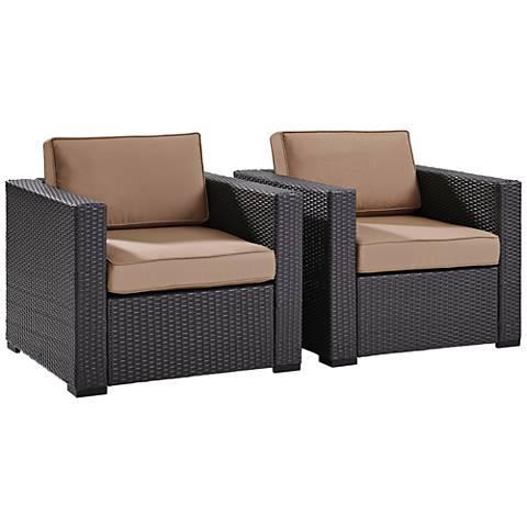 Biscayne Mocha Fabric Outdoor Wicker Armchair Set of 2