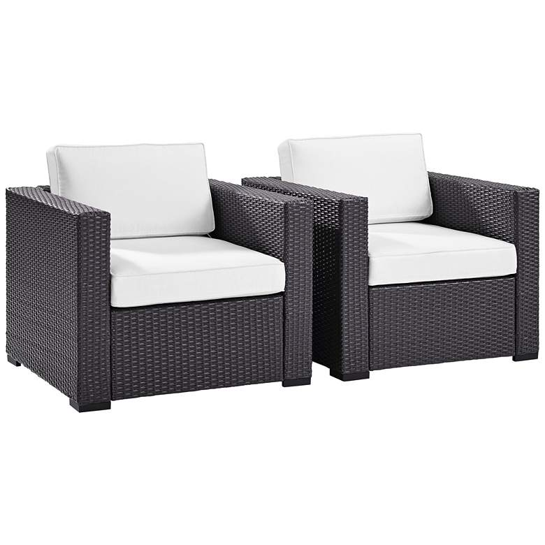 Biscayne White Fabric Outdoor Wicker Armchair Set of
