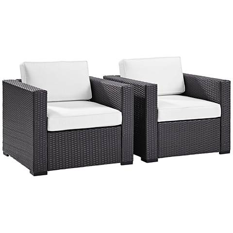 Biscayne White Fabric Outdoor Wicker Armchair Set of 2