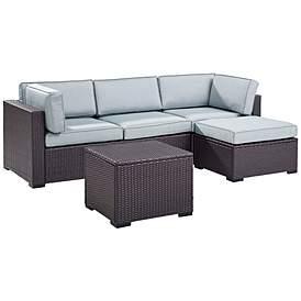 Biscayne Mist Fabric 4 Piece 3 Seat Outdoor Patio Set