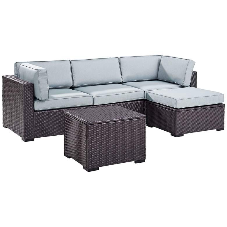 Biscayne Mist Fabric 4-Piece 3-Seat Outdoor Patio Set