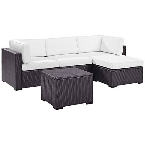 Biscayne White Fabric 4-Piece 3-Seat Outdoor Patio Set