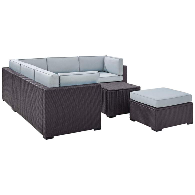 Biscayne Mist Fabric 5-Piece 5-Seat Outdoor Patio Set