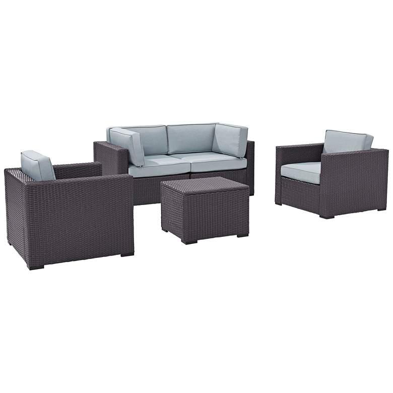 Biscayne Mist Fabric 5-Piece 4-Seat Outdoor Patio Set