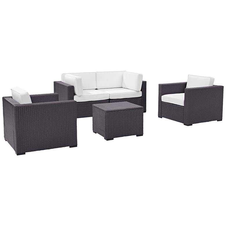 Biscayne White Fabric 5-Piece 4-Seat Outdoor Patio Set