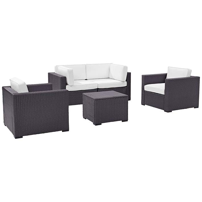 Biscayne White Fabric 5-Piece 4-Seat Outdoor Patio Set - #37A97