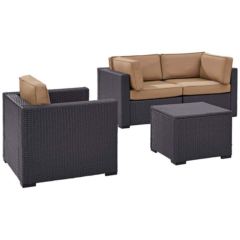 Biscayne Mocha Fabric 4-Piece 3-Seat Outdoor Patio Set