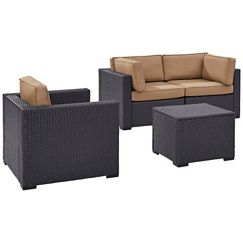 Biscayne Mocha Fabric 4-Piece 3-Seat Outdoor Patio Set