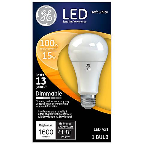 100W Equivalent GE Frosted 15W LED Dimmable Standard Bulb
