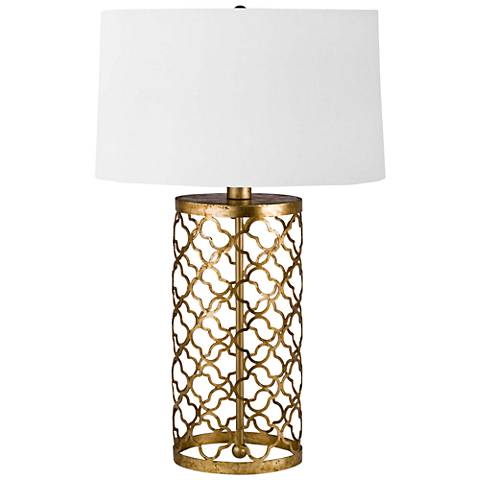 Regina Andrew Manuel Antique Gold Leaf Mosaic Drum Table Lamp