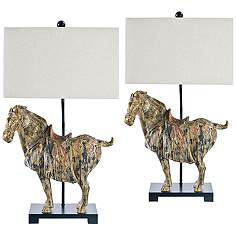Black traditional table lamps lamps plus regina andrew dynasty horse table lamp set of 2 aloadofball Image collections