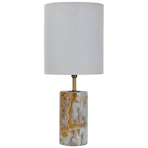 "Shalom Jade and Brass Cylinder 18 1/2""H Accent Table Lamp"