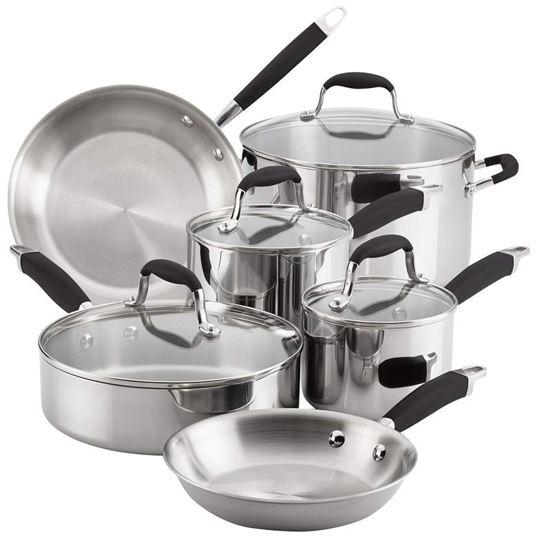 Anolon Tri-Ply Onyx Stainless Steel 10-Piece Cookware Set