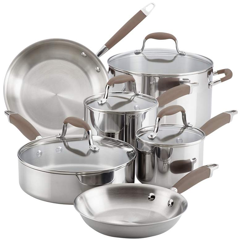 Anolon Tri-Ply Bronze Stainless Steel 10-Piece Cookware Set