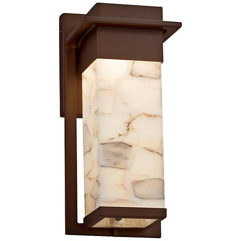 "Alabaster Rocks! Pacific 12"" High Bronze LED Outdoor Wall Light"