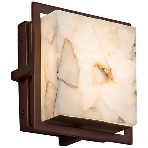 "Alabaster Rocks Avalon 6 1/2""H Bronze LED Outdoor Wall Light"