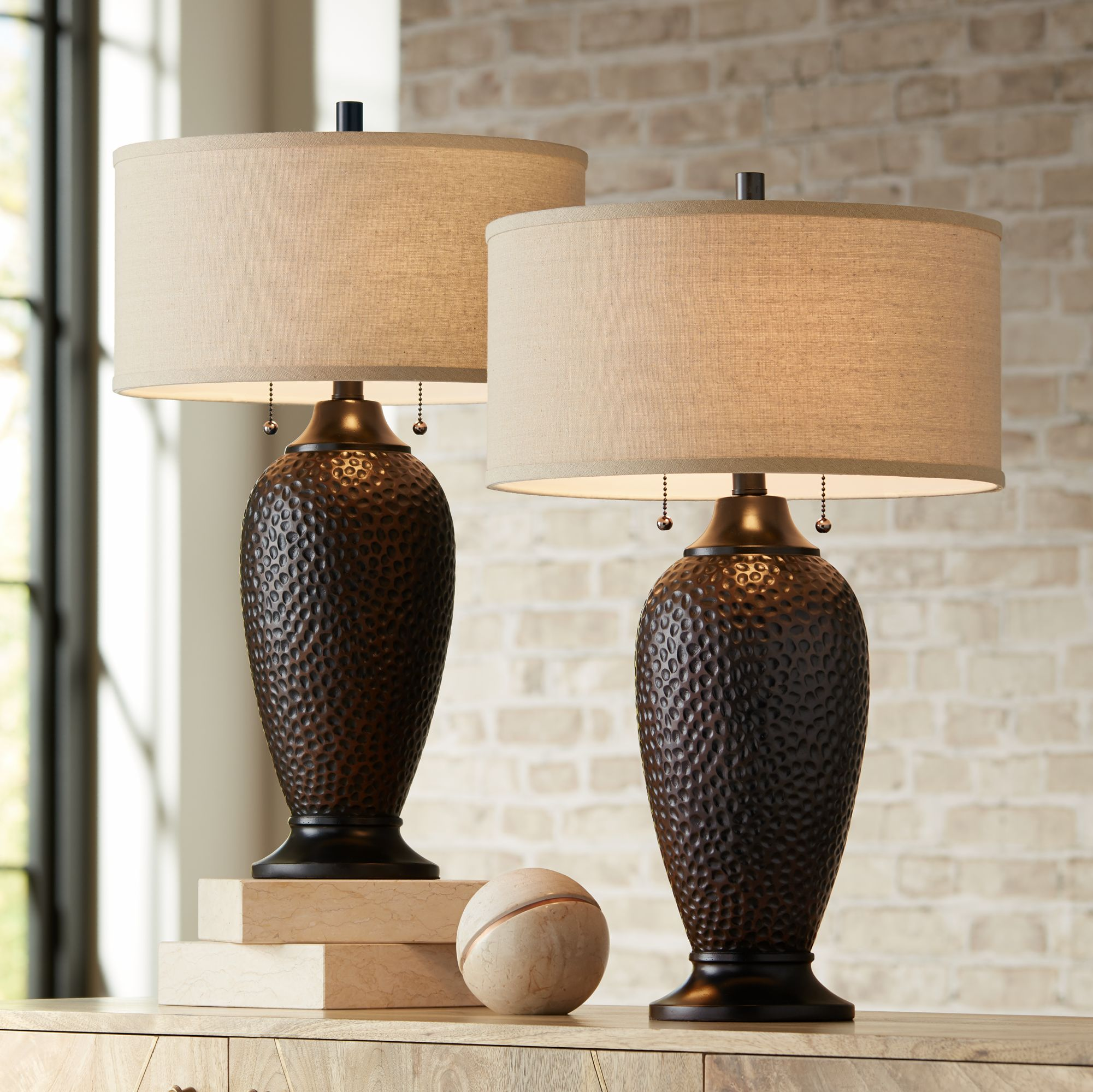 Delicieux Details About Modern Table Lamps Set Of 2 Hammered Oiled Bronze For Living  Room Family Bedroom