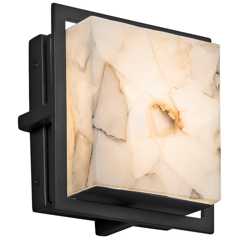 "Alabaster Rocks! Avalon 6 1/2""H Black LED Outdoor Wall Light"